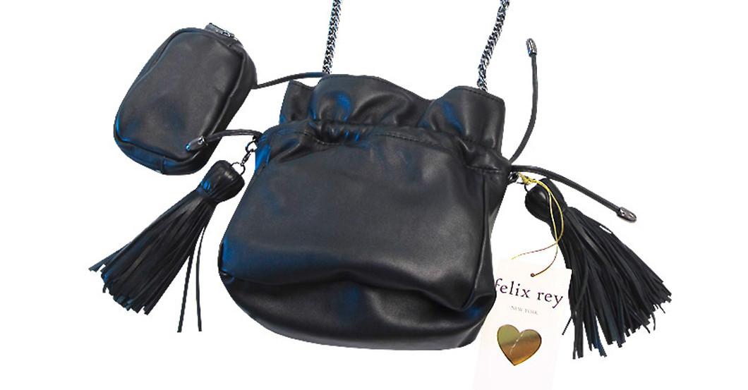 Schwarzes Leder-Umhängetäschchen von Felix Rey