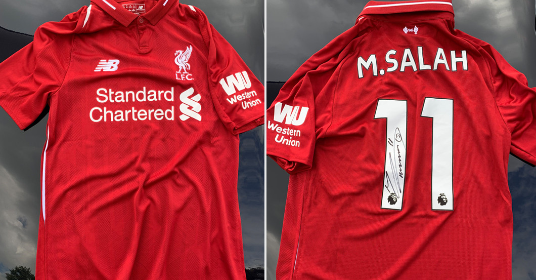 new styles 6f919 5b2f7 Superstar Mo Salah's Originally Signed Liverpool Shirt