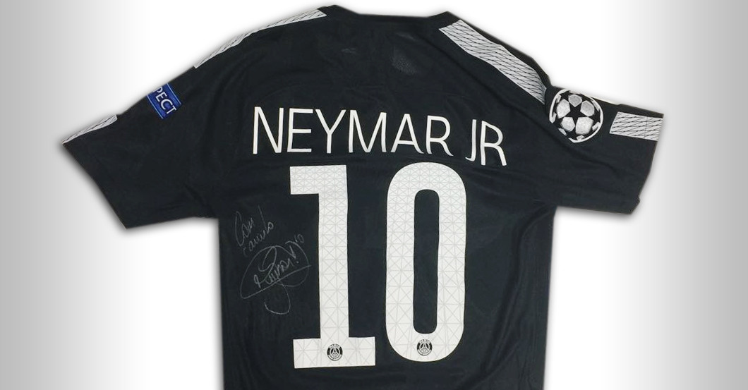 hot sale online a9048 62463 Unique: Neymar's PSG Player Jersey with Greeting & Signature