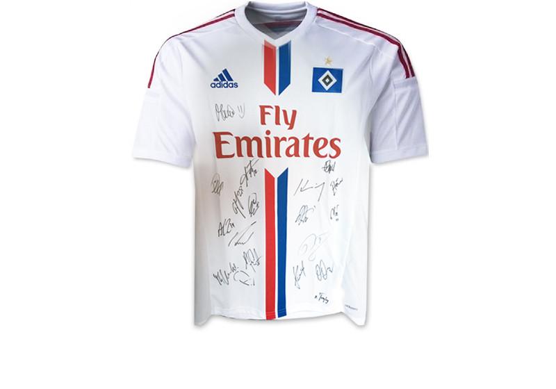 Vom Hamburger SV: Teamsigniertes, aktuelles Heimtrikot
