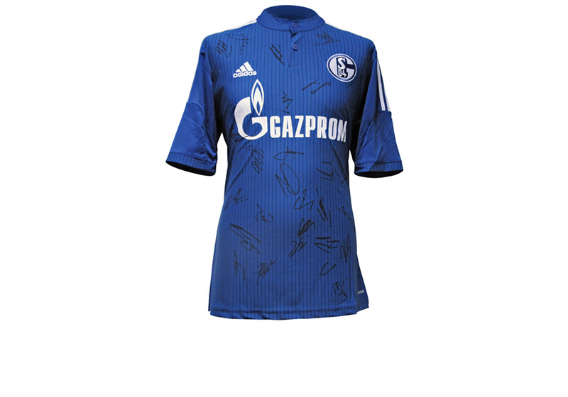 vom gesamten team signiert trikot des fc schalke 04. Black Bedroom Furniture Sets. Home Design Ideas