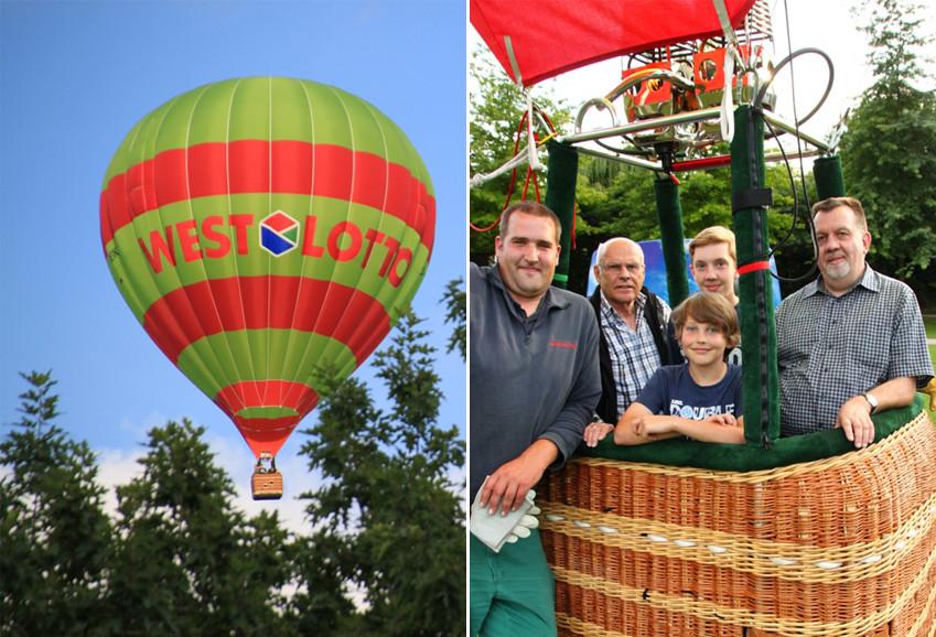Rolf, seine Söhne und das Team bei der Heißluftballonfahrt