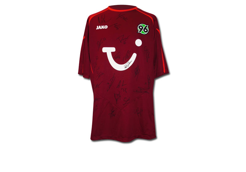 zum bundesligafinale handsigniertes trikot hannover 96. Black Bedroom Furniture Sets. Home Design Ideas