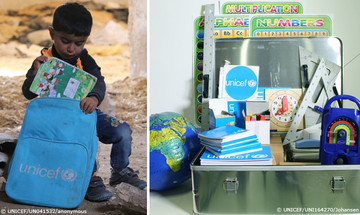 The mobile classrooms are a great help for Syrian children