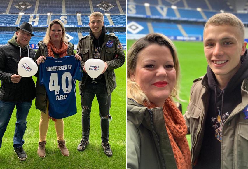 Mit HSV-Star Jann-Fiete Arp im Stadion