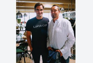 Mit Roger Federer beim Mercedes Cup
